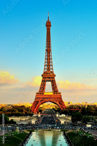 Eiffel Tower At Sunset From Trocadero Palais de Chaillot