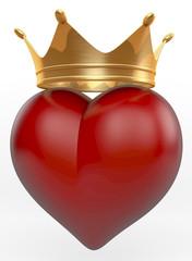 Rotes Herz mit goldener Krone, 3D Rendering