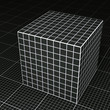 Black grid paper cube on black grid paper floor