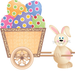 Happy Bunny Pushing Cart Full of Easter Eggs