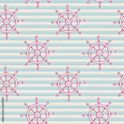 Marine seamless background with steering wheels