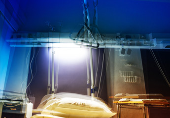 Hospital room in stroboscopic view