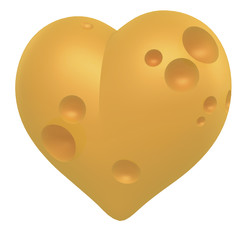 Gelbes Käse Herz, 3D Rendering