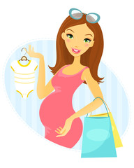 Pregnant woman shopping. Full editable