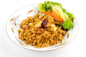 Crispy catfish salad on plate isolated white background