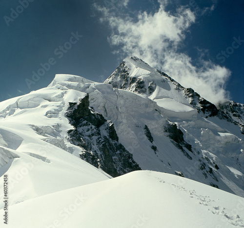 Ushba, peak of the Caucasus Mountains. Georgia and Russia