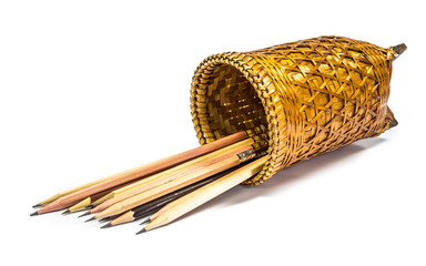 Woven basket and pencil