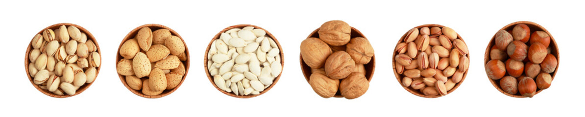 Nuts in bowl on white