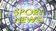 Sport News Text in Monitors Tunnel, Loop