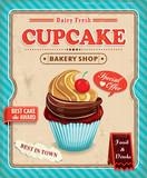 Fototapety Vintage cupcake poster design