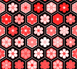 Red flowers in a hexagon geometric structure seamless pattern