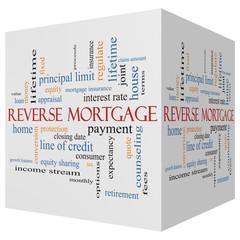 Reverse Mortgage 3D cube Word Cloud Concept