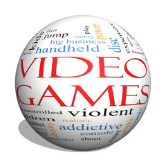 Video Games 3d sphere Word Cloud Concept