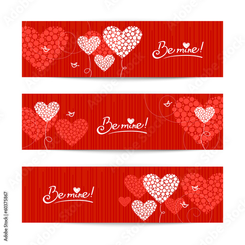 Set of love background with abstract hearts and birds. Valentine