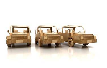 Auto verde stilizzata di legno, assicurazioni, ecologia