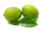 Green lime with leaf isolated on white background