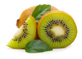 Kiwi fruit with leaves isolated on white
