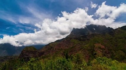 Clouds Timelapse over Mountain Range, Reunion, Cilaos