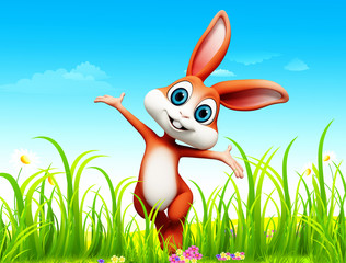 Easter happy bunny with jumping