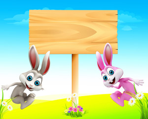 Happy bunny jumping with sign