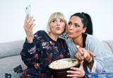 two woman friends making selfie picture