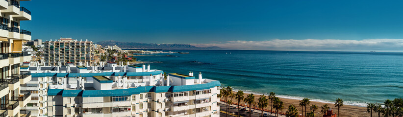 Beautiful panoramic view of Benalmadena, Spain
