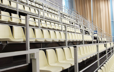 Rows of seats for the fans at a stadium