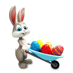 happy bunny with eggs trolley