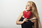 Lovely Beautiful Blond Woman with Red Heart. Valentine's Day