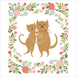 Cute cats, valentine card or wedding card