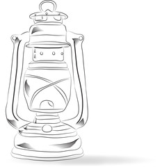 Sketch old kerosene lamp, vector