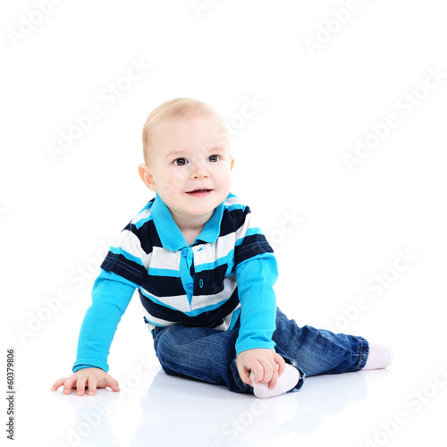 full legth portrait of cute happy smiling sitting  little girl t