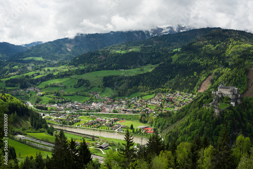 Beautiful view of the village and Hohenwerfen fortress, Austria