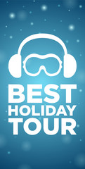 Best holiday tour on blue background