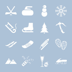 Set of winter holiday icons