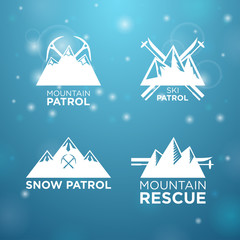 logotype ski, mounrain and snow patrol with mounrain rescue