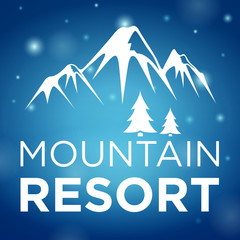 mountain resort and spruce on blue background