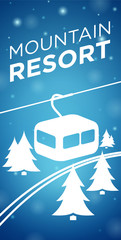 Mountain resort ropeway and spruce on blue background