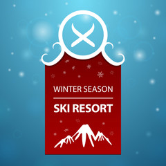 Red logotype winter season ski resort