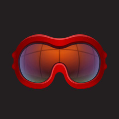 Red tinted ski goggles