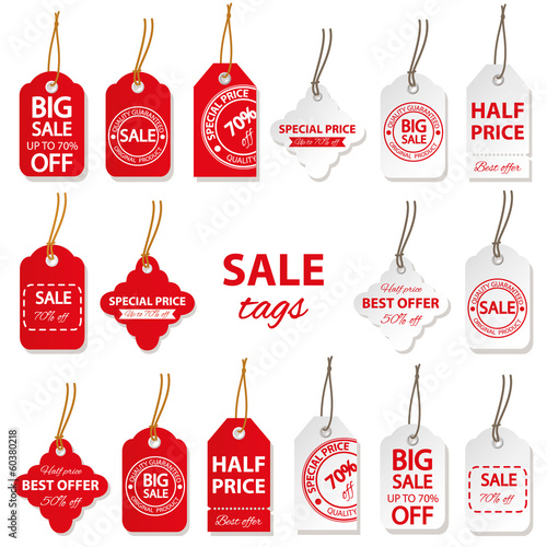 Sale labels big set in red and white colors.