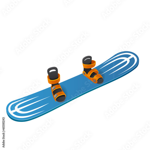 Blue snowboard on white background