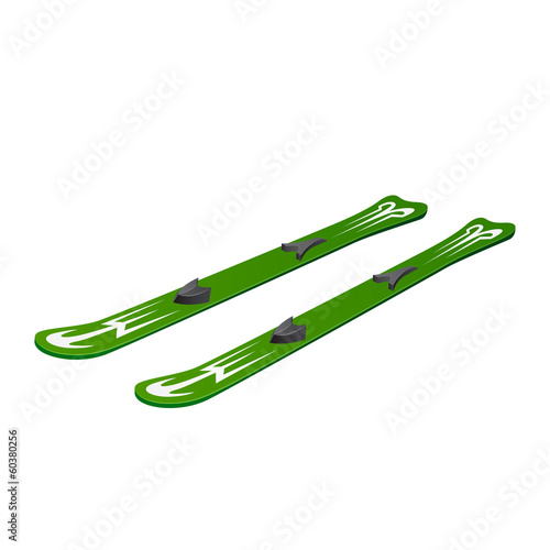 Green skiing on white background