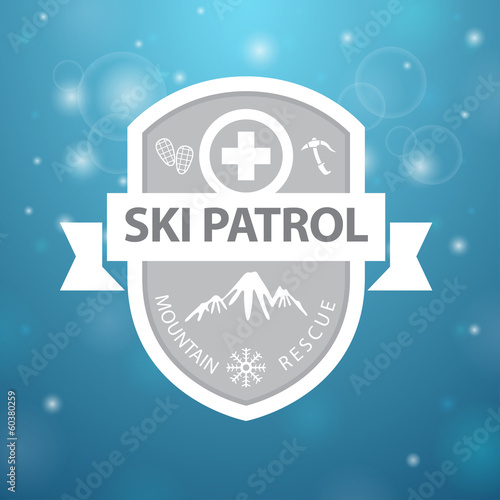 logotype mountain ski patrol rescue on blue background