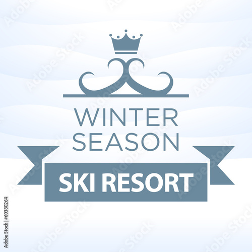 logotype winter season ski resort on snow background
