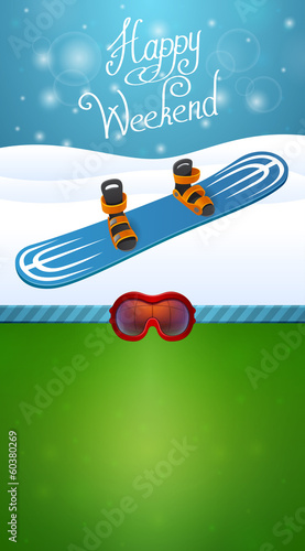 Heppy winter weekend blue snowboard