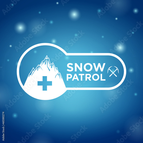 logotype snow patrol on blue background