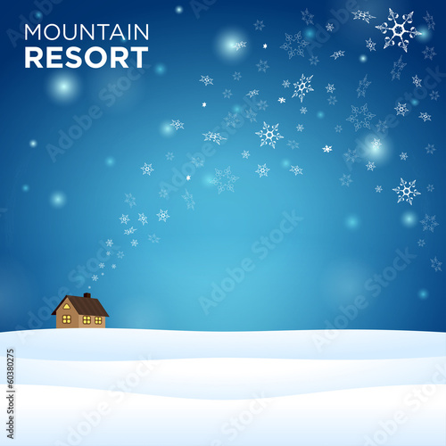 mountain resort alone hous on snow