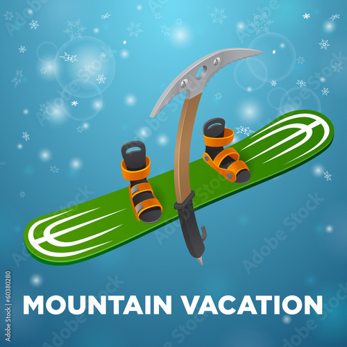 Mountain vacation green snowboard and kirk's on blue background
