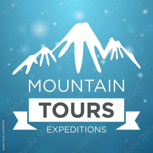 Mountain tours expedition on blue background